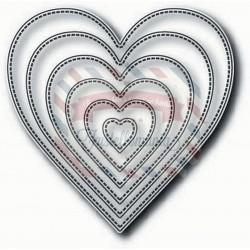 Fustella metallica Tutti Designs Nesting Stitched Hearts
