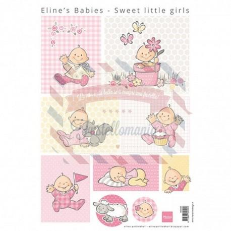 Carta da scrapbooking Marianne Design Eline's Baby Sweet little girls