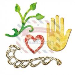 Fustella Sizzix Sizzlits Flourish Hand Heart Vine