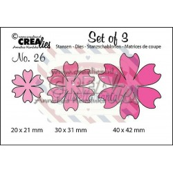 Fustella metallica Crealies Set of 3 nr 26 Flowers 16