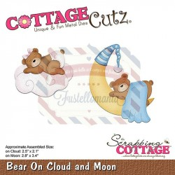 Fustella metallica Cottage Cutz Bear On Cloud and Moon