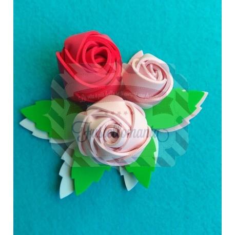 Fustella XL Rose arrotolate e foglia