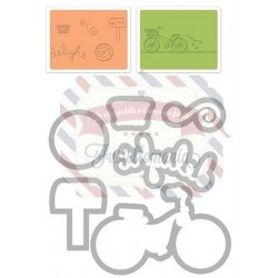 Fustella Sizzix Framelits Delightful Bicycle Set by Deena Ziegler
