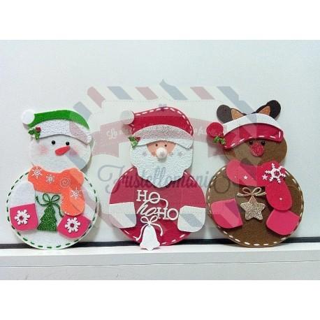 Babbo Natale Peluche.Portaposate A4 Babbo Natale Renna Pupazzo Di Neve
