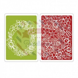Sizzix textured impres. embossing folder 2pk wreath