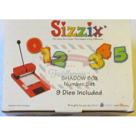 Fustella Sizzix Shadow Box Number Set Numeri